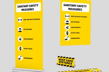 Mockup kit of Signage for the new normality after the Covid-19 Pandemic; 3D; 3D Illustration